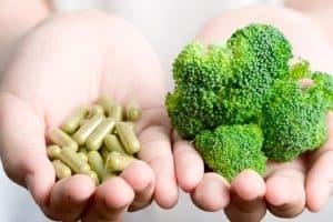 vegan food supplement or tablet supplements