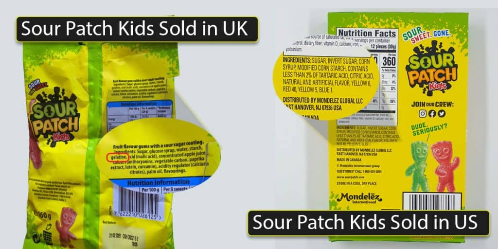 Sour patch Kids are Vegan Gummies in US but not in UK