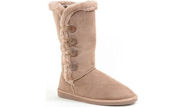 Fourever Funky Furry Button Vegan Suede Boots
