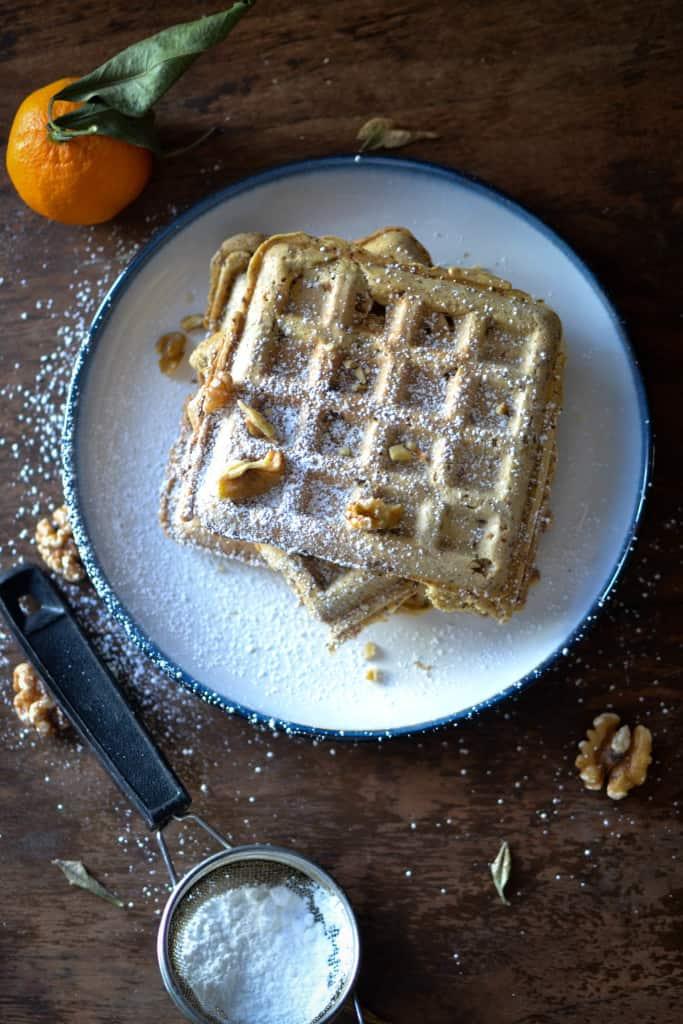 Maple Walnut Spelt Waffles
