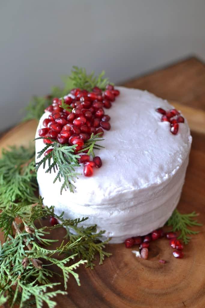 Pomegranate Cake Recipe with Coconut Oil Buttercream