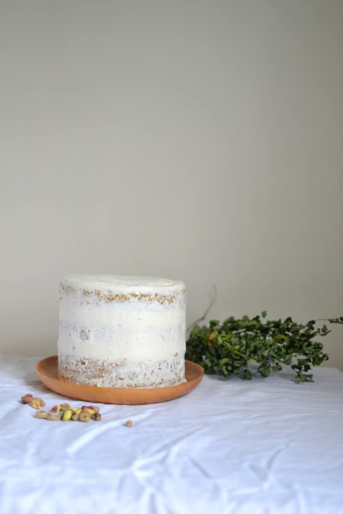 Vegan Pistachio Cake with Lemon and Almond Frosting